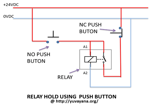 relay hold using two push button