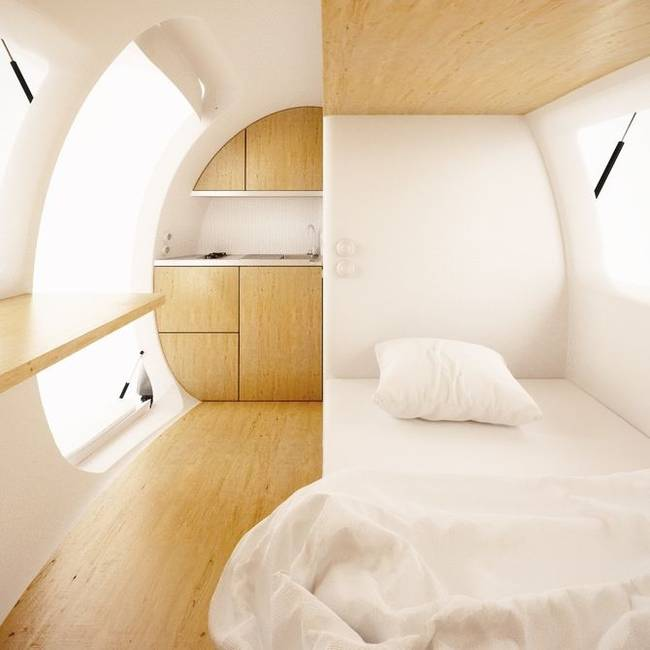 ecocapsule portable low energy tiny home interior design