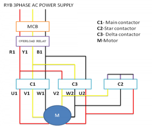 power circuit diagram of star delta starter
