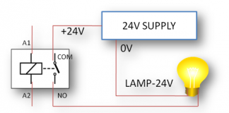 Lamp Connection with relay diagram